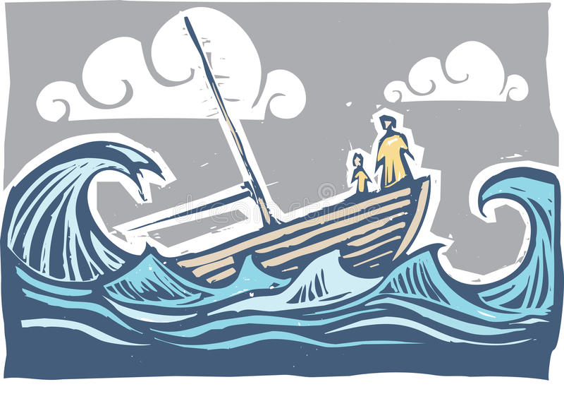 Sinking boat #3 stock illustration