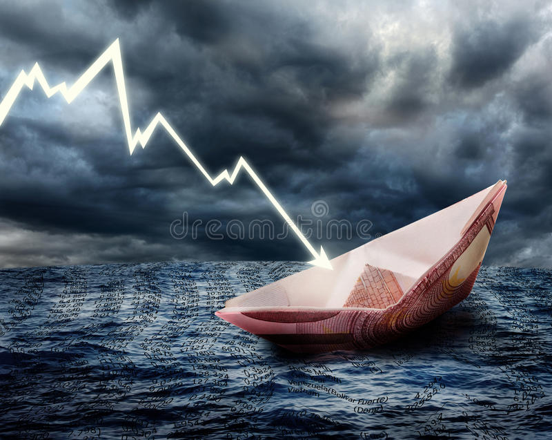 Sinking euro ship stock photography