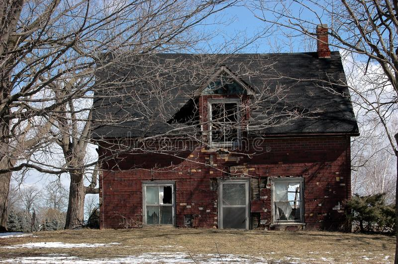 Sinking farm house stock image