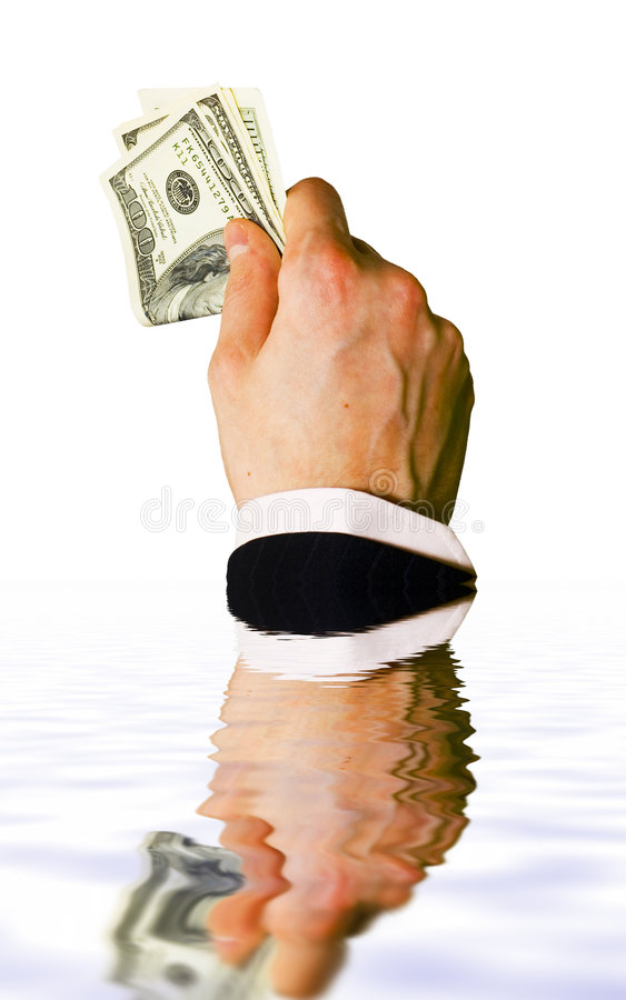 Download Sinking hand with money stock photo. Image of businessman - 1470560