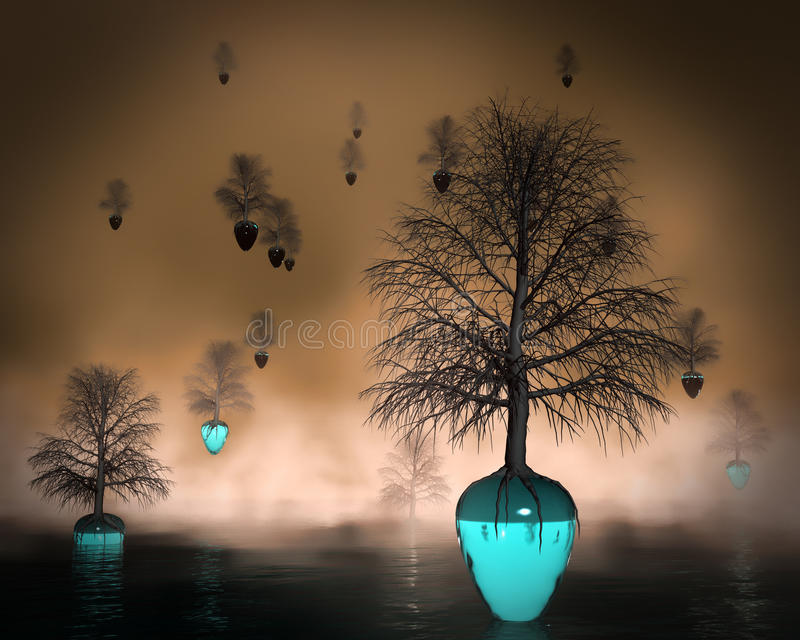 Sinking ship concept. Trees leaving a planet with a chemical life-choking atmosphere