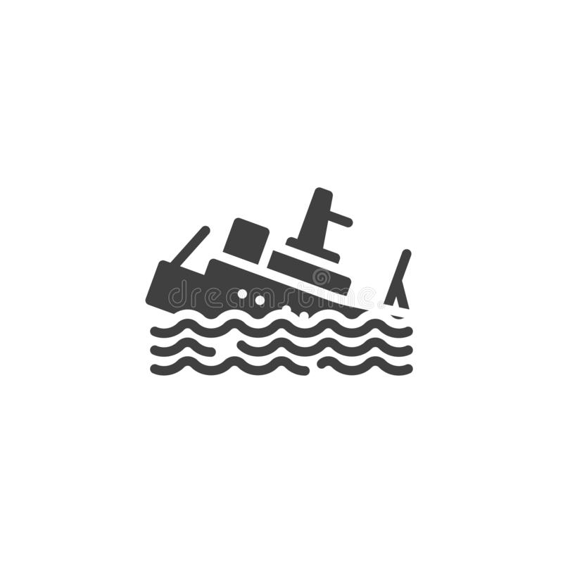 Sinking Ship Insurance vector icon. Filled flat sign for mobile concept and web design. Sinking boat glyph icon. Symbol, logo illustration. Vector graphics royalty free illustration
