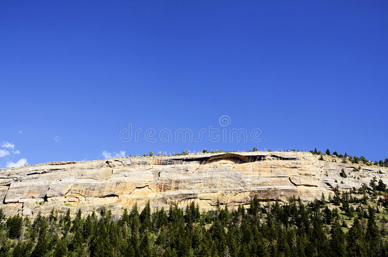 Sinks Canyon Rock Wall. A rock wall in Sinks Canyon outside of Lander, Wyoming. This is a ledgendary sport rock climbing area royalty free stock photography