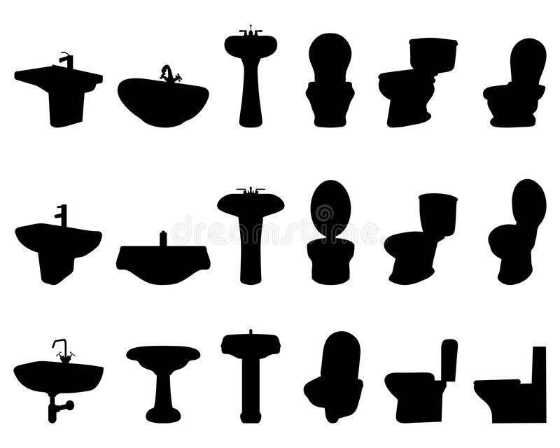 Sinks and toilet vector illustration
