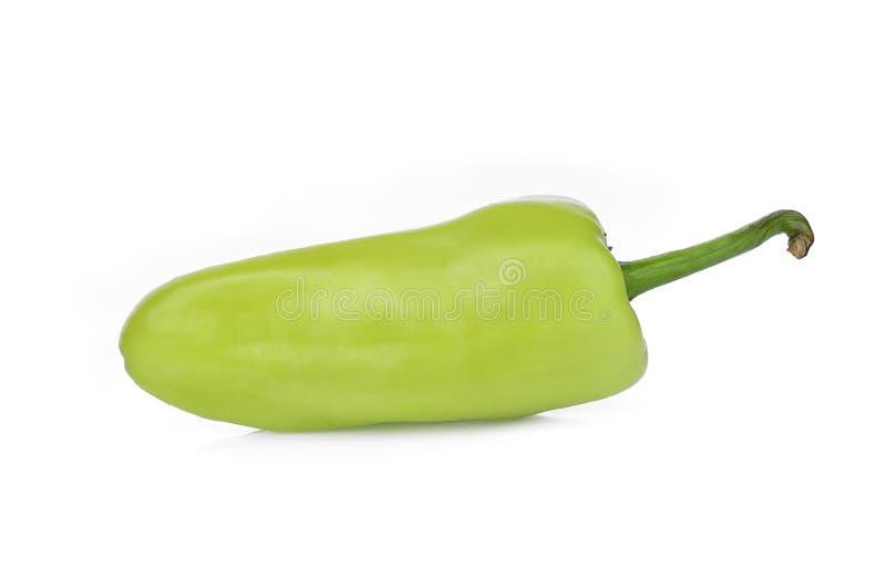 Sinlge geen la pimienta o el pimiento de chile aislado en blanco foto de archivo