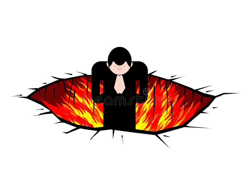 Sinner in Pit to hell. Fire Rift. Hole in purgatory.  vector illustration