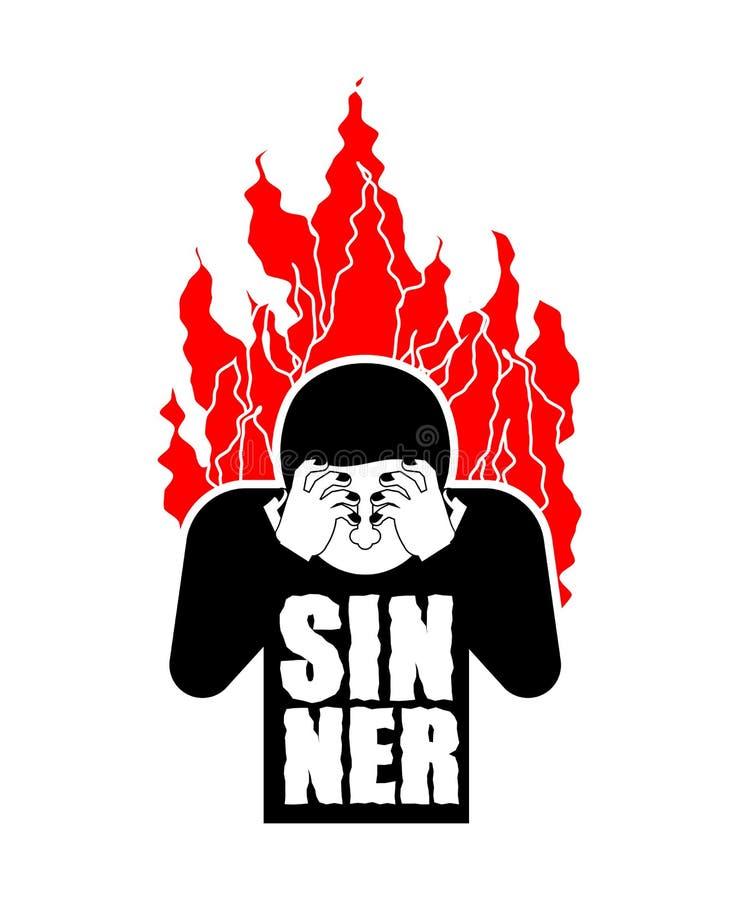 Sinner su fuoco OMG Fronte della copertura con le mani Disperazione e sufferin royalty illustrazione gratis