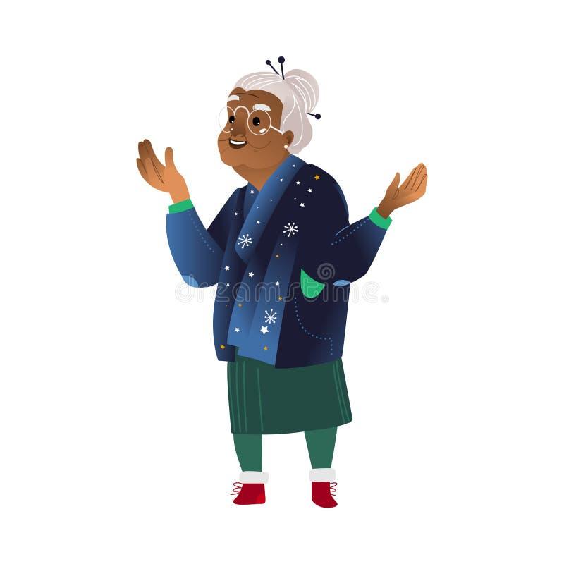 Sinnesrörelse för gammal kvinna för vektor plan grå färg-haired upphetsad vektor illustrationer