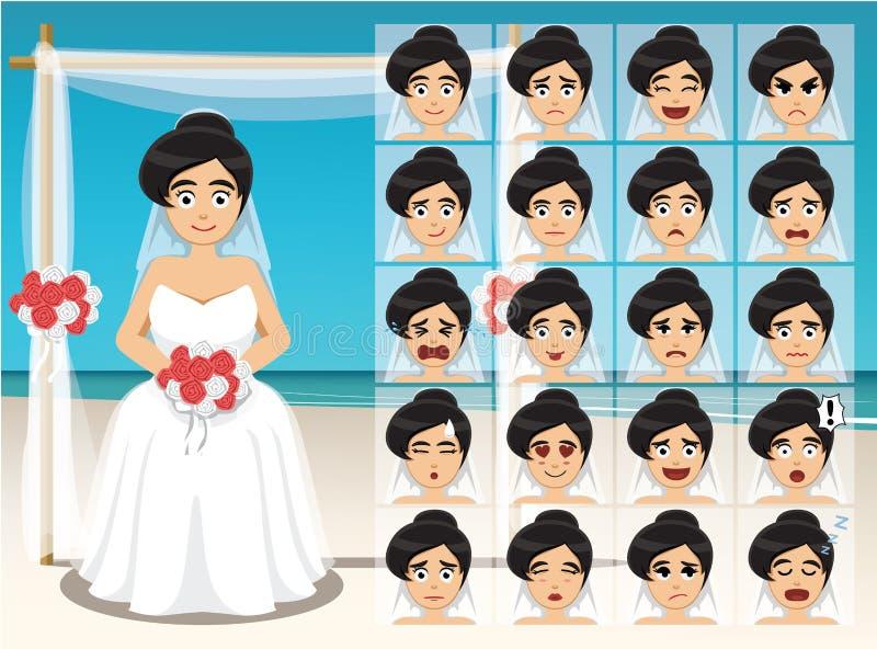 Sinnesrörelse för kvinnabrudtecknade filmen vänder mot vektorillustrationen royaltyfri illustrationer