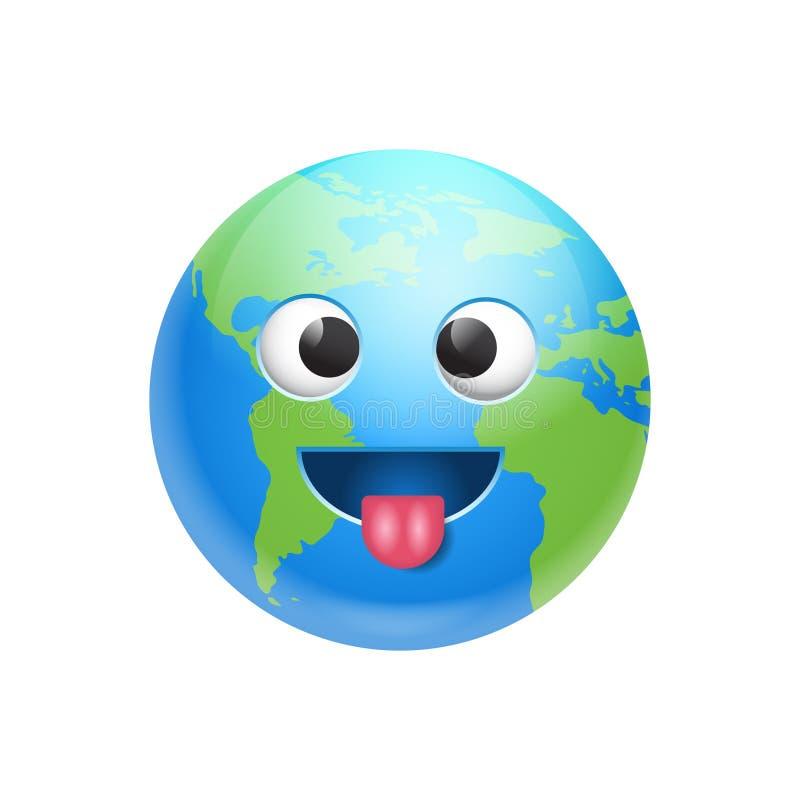 Sinnesrörelse för planet för symbol för dumbom för tecknad filmjordframsida rolig royaltyfri illustrationer