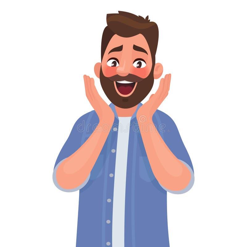 Sinnesrörelsen av överraskningen och fröjd i en man på framsidan Glädje stock illustrationer