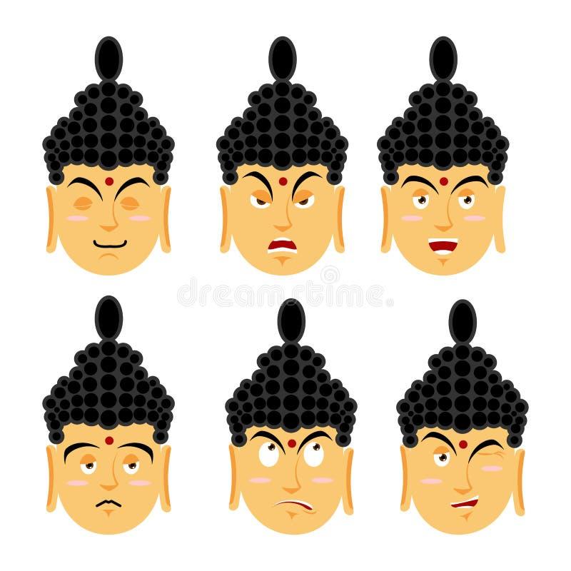 Sinnesrörelser buddha Ställ in guden för uttrycksavatarindiern Goda och evi royaltyfri illustrationer