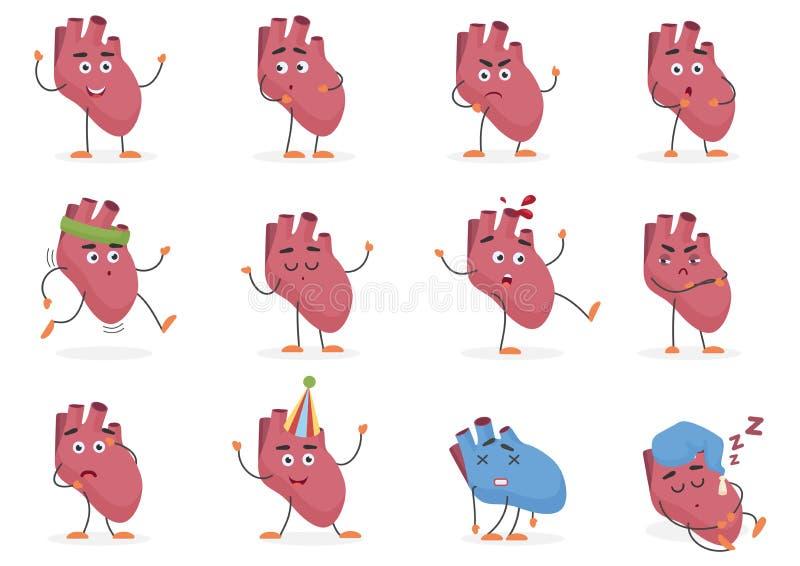 Sinnesrörelser för inre organ för hjärta för gullig tecknad film poserar mänskliga och uppsättningvektorillustrationen vektor illustrationer