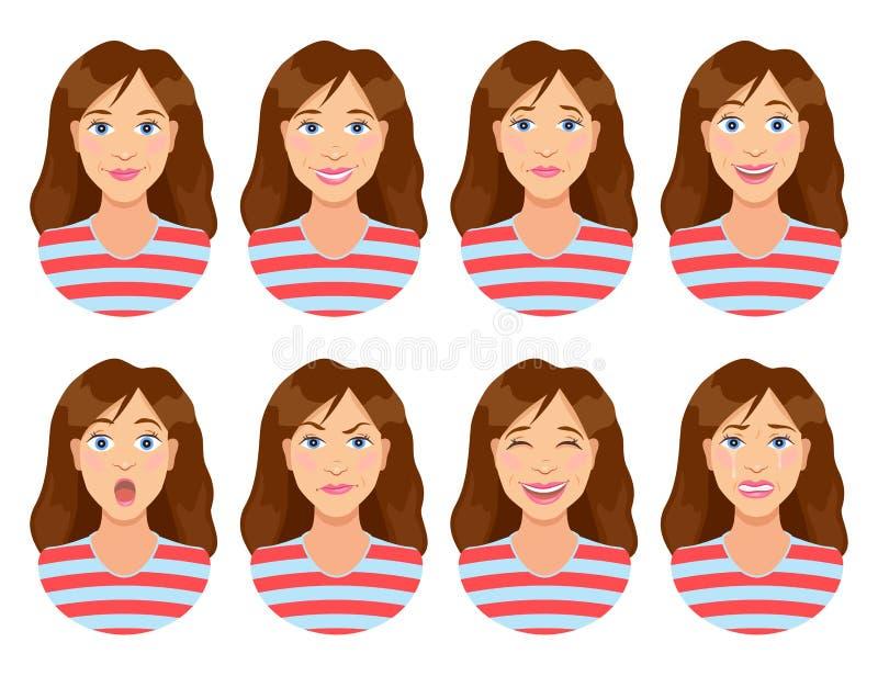 Sinnesrörelser för kvinna` s Kvinnligt framsidauttryck Kvinnaavatar vektor illustrationer