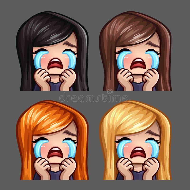 Sinnesrörelsesymboler som gråter kvinnlign med långa hår för samkvämnätverk och klistermärkear vektor illustrationer