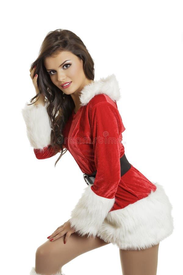 Sinnliche Dame in Sankt-Kostüm lizenzfreie stockfotos