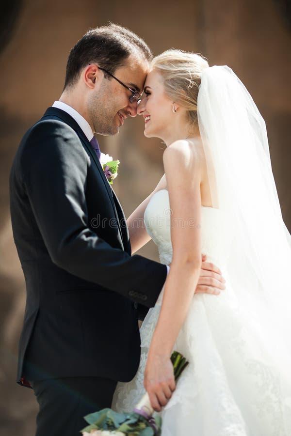Sinnliche romantische Paare von den Jungvermählten, die vor altem Chu umarmen lizenzfreie stockfotografie