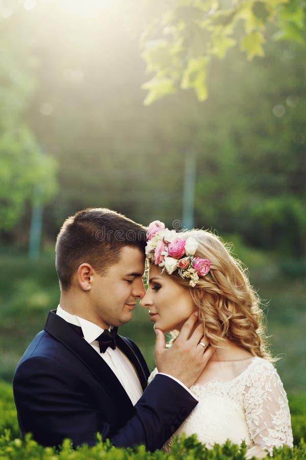 Sinnlig härlig ung blond brud och stilig brudgum på sunse royaltyfria foton