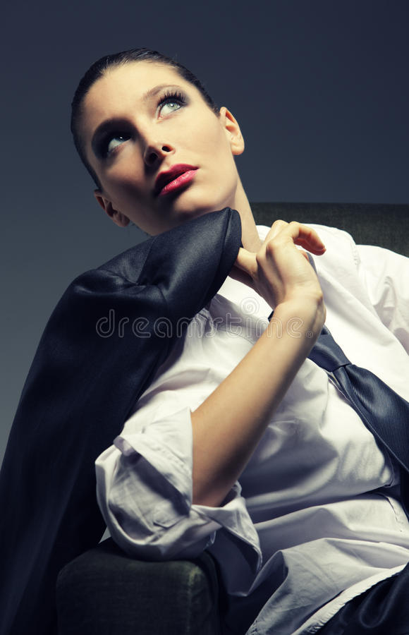 Sinnlig kvinnastående, modemodell royaltyfria foton