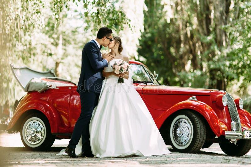 Sinnlig kyss av tvåna i deras bröllopdag royaltyfria foton