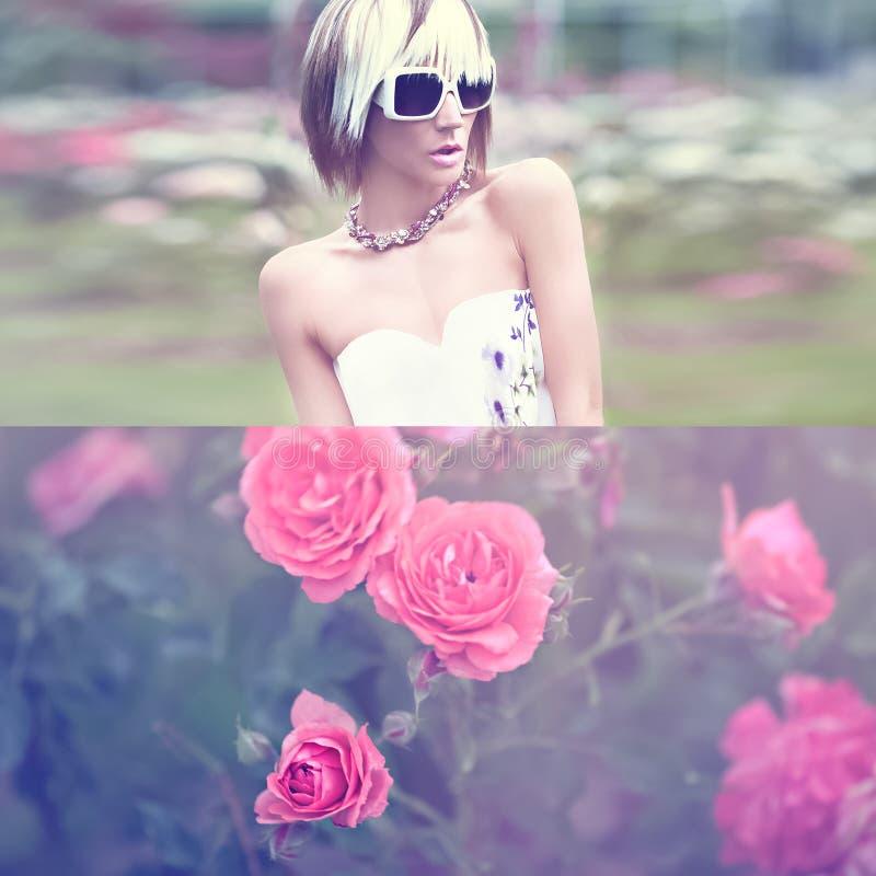 Sinnlig modedam i blommorna arkivfoton
