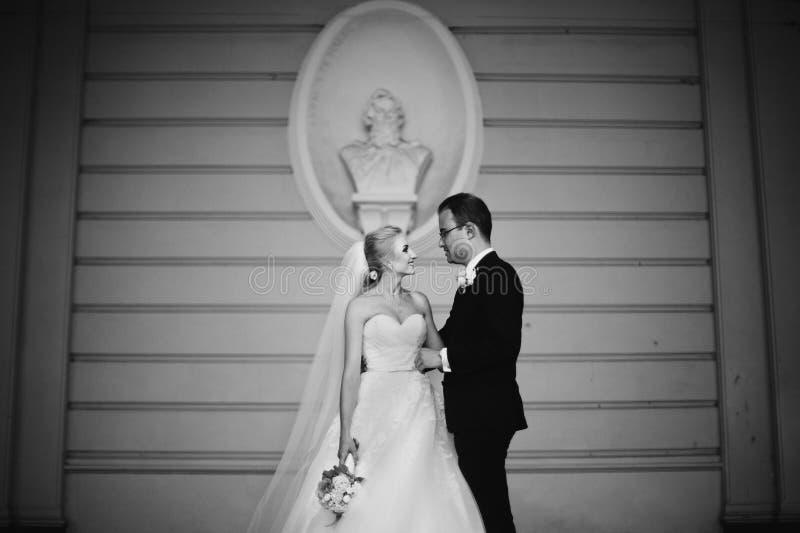 Sinnliga lyckliga nygift personvalentynes som kramar, vägg med pank backg fotografering för bildbyråer