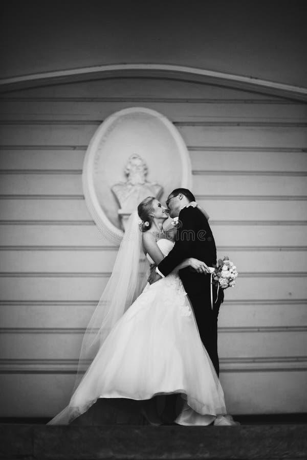 Sinnliga lyckliga nygift personvalentynes som kramar, vägg med pank backg royaltyfri foto