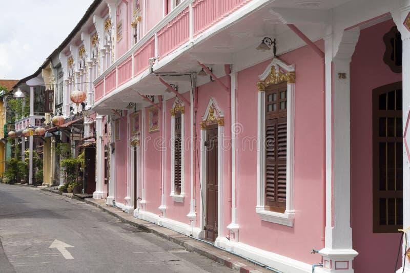 Sino португальская архитектура в городке -6 Пхукета стоковые изображения