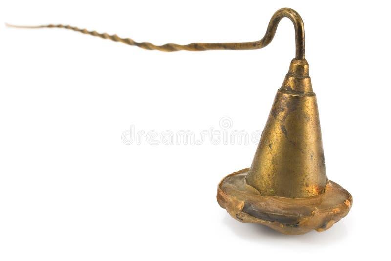 Sino de bronze do tubo aspirador para extinguir velas imagem de stock
