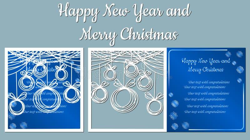 Sino de mão, curvas, fitas, floco de neve Vetor Corte do plotador cliche A imagem com a inscrição - Feliz Natal ilustração stock