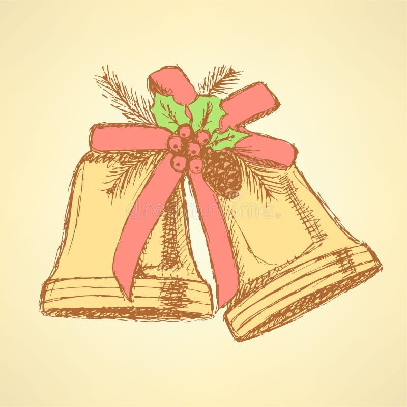 Sino de Natal do esboço no estilo do vintage ilustração do vetor