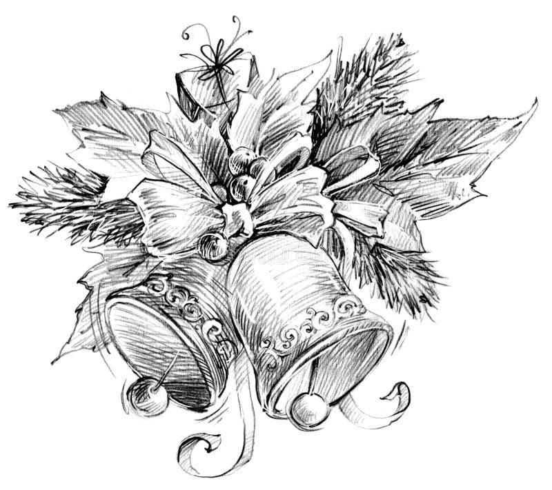 Sino de Natal, esboço para o fundo do ano novo ilustração stock
