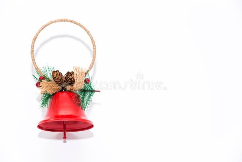 Sino de Natal, fim da decoração dos ornamento isolado acima no fundo branco fotografia de stock royalty free