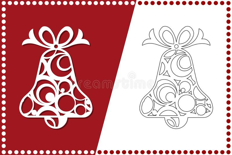 Sino de Natal moderno O brinquedo de ano novo para o corte do laser Ilustração do vetor ilustração stock