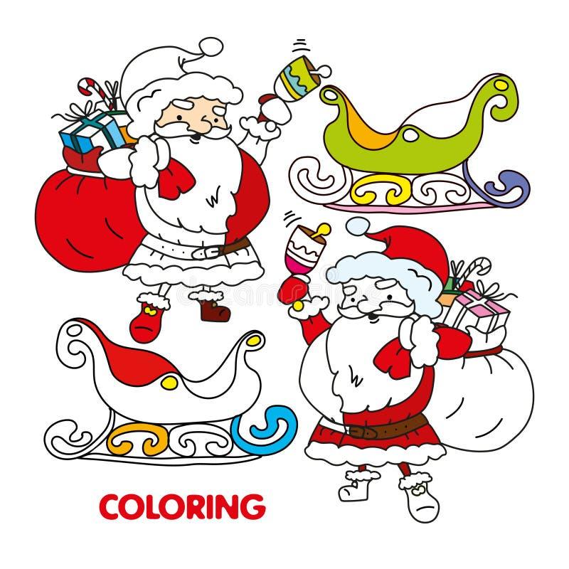 Sino de soada de Santa Claus da silhueta, vetor do trenó ilustração stock