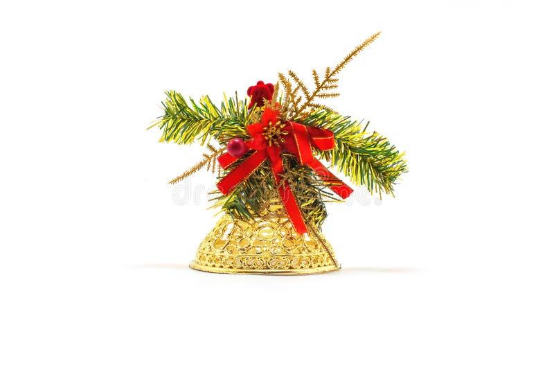 Sino do brinquedo do Natal do ouro imagem de stock royalty free