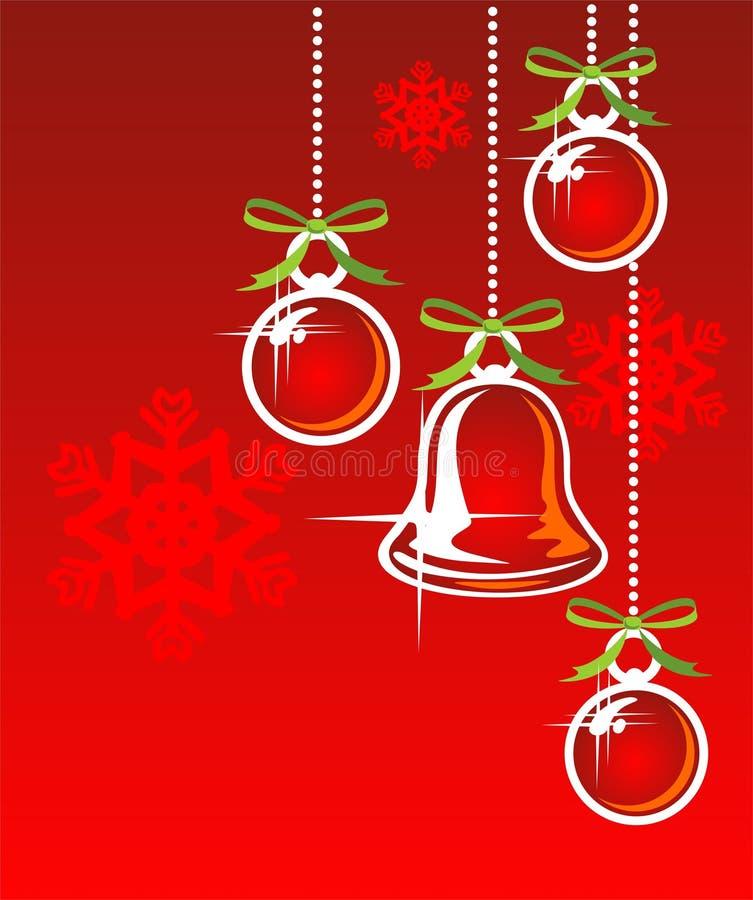 Sino e esferas de Natal ilustração do vetor