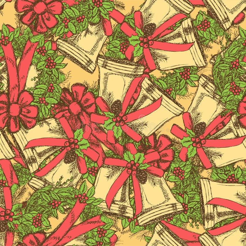 Sino e grinalda de Natal do esboço ilustração do vetor