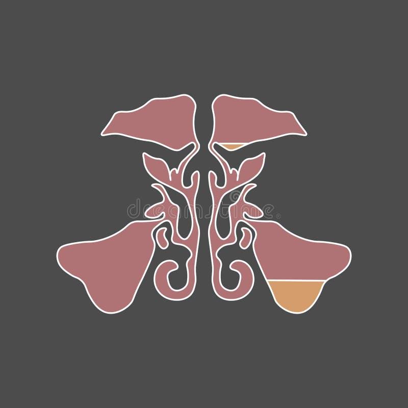 Sino maxilar del estilo plano sinusitis la infección del sino es inflamación de los sinos rhinosinusitis stock de ilustración