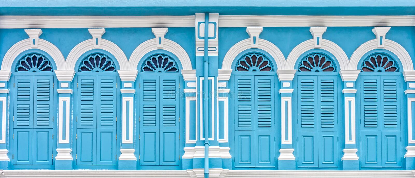 Sino-Portuguese Architecture of many the buildings in Phuket city. These old buildings have been constructed more than hundred years and this architectural style royalty free stock photography