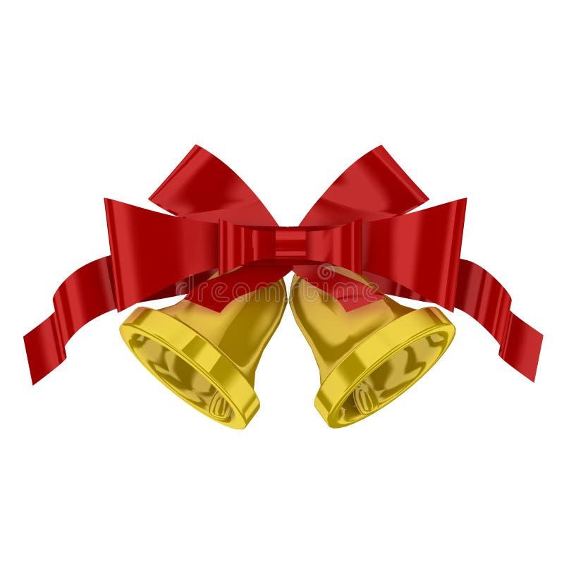 Sinos de Natal com fita vermelha ilustração royalty free