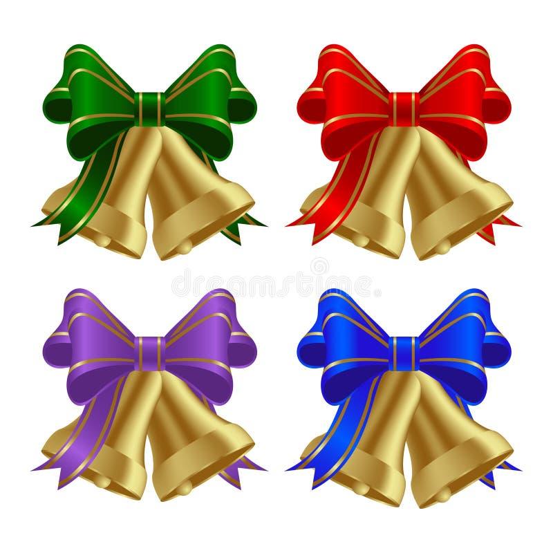 Sinos de Natal dourados ilustração royalty free