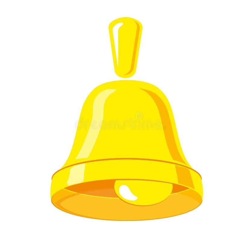 Sinos de Natal dourados Handbell do ícone, isolado no fundo branco Símbolo alerta Vetor ilustração do vetor