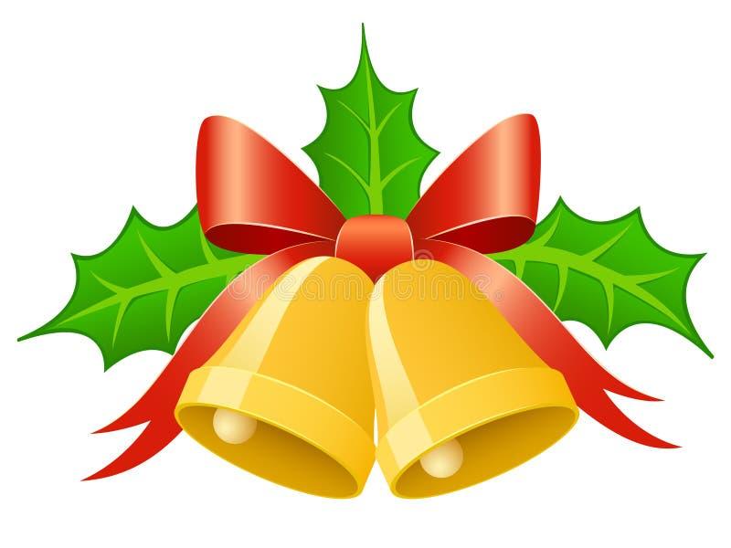 Sinos do ouro do Natal com curva da fita e lea do azevinho ilustração stock