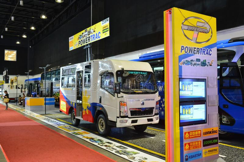 Sinotruk Powertrac exhibit booth. PASAY, PH - AUG. 17: Sinotruk Powertrac exhibit booth on August 17, 2018 at Transport and Logistics in World Trade Center Metro royalty free stock photo