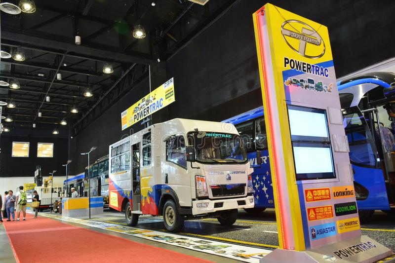 Sinotruk Powertrac exhibit booth. PASAY, PH - AUG. 17: Sinotruk Powertrac exhibit booth on August 17, 2018 at Transport and Logistics in World Trade Center Metro royalty free stock photos