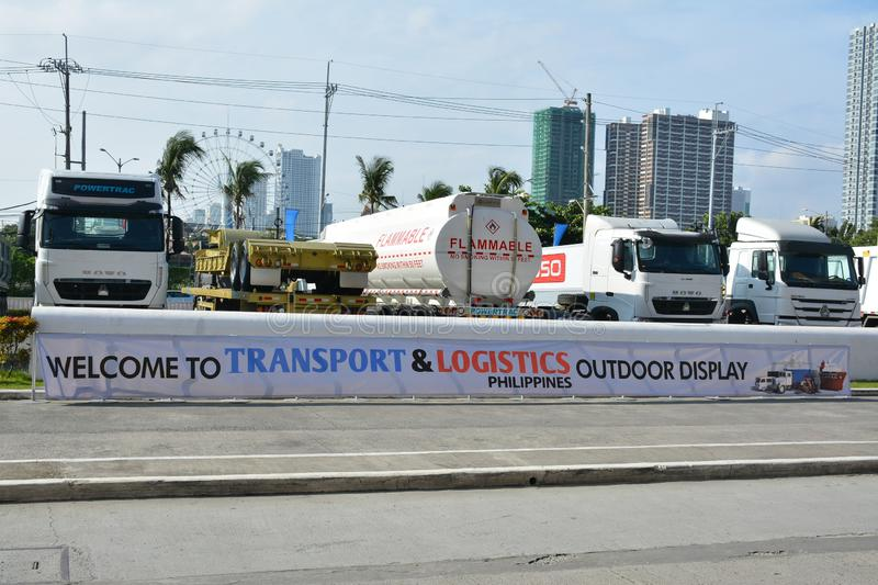 Sinotruk trucks outdoor display. PASAY, PH - AUG. 17: Sinotruk truck outdoor display on August 17, 2018 at Transport and Logistics in World Trade Center Metro royalty free stock photo