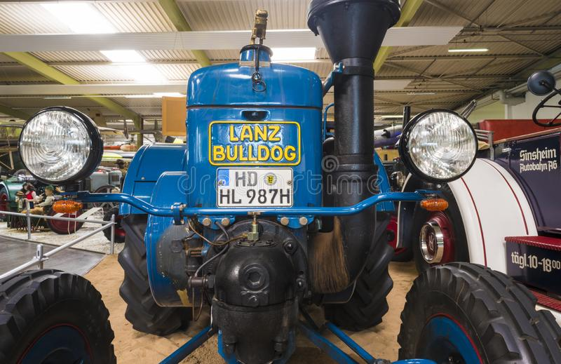 SINSHEIM, GERMANY - APRIL 8, 2018: Blue Bulldog Lanz old-timer tractor in the auto and technic museum, Auto & Technik Museum. Blue Bulldog Lanz old-timer tractor stock photo