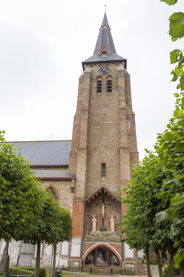 Sint-Andreaskerk church and the yard from Bruges stock photography