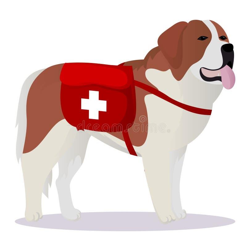 Sint-bernardhond lifesaver stock illustratie